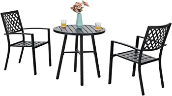 3-Piece Phi Villa Patio Metal Bistro Chairs and Table Furniture Set