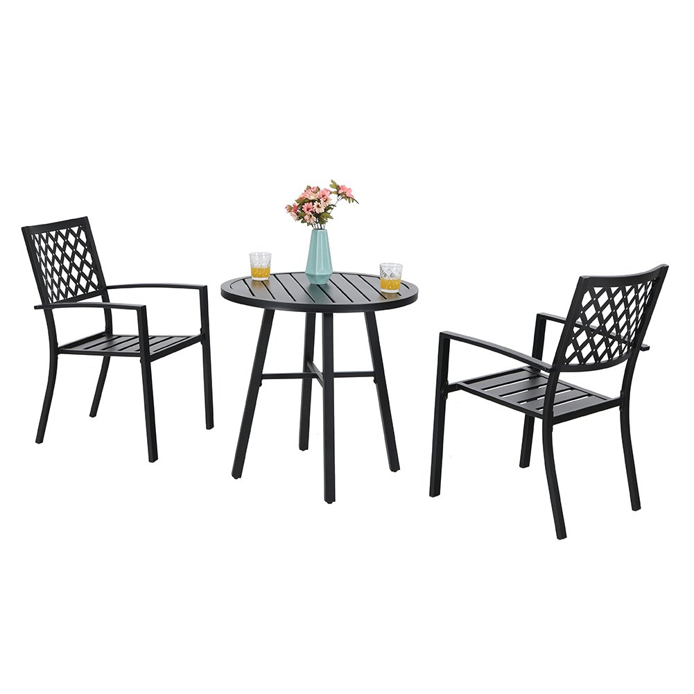 PHI VILLA Patio Metal 3 Piece Bistro Chairs and Table Furniture Set – Black