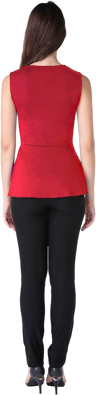 ANGGREK Womens Peplum Tunic Blouse Slim Sleeveless Crew Neck Work Ruffle Skater Shirt Tops