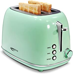 Keenstone 2 Slice Toaster Retro Stainless Steel Toaster, Green