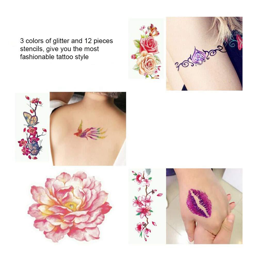 Kit de Tatuaje, temporales 3 colores polvo Diamante Brillo Glitter ...