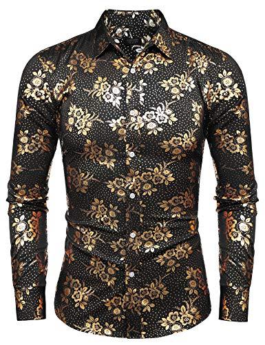 COOFANDY Mens Paisley Shirt Luxury Design Long Sleeve Casual Button Down Shirts