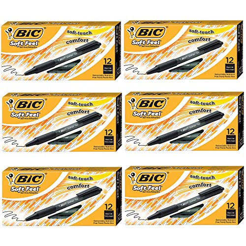 BIC Soft Feel Ball Pen, Black, Fine Point, 12-Count (6)