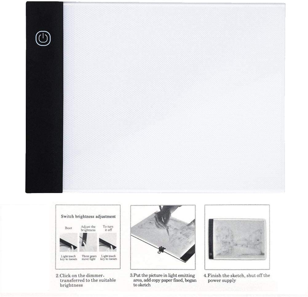 Tracing Light Box A5 Portable LED Stepless Dimmable Tracer Light Pad Panel USB Crafts Tracer Light Buffer Light Box Drawing Tablet for Painting Diamond Painting A, White Sketching Drawing