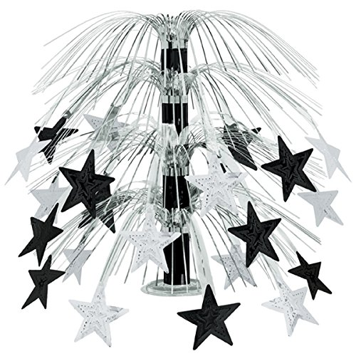 (Club Pack of 6 Black and Silver Cascade Star Cut-Out Table Centerpiece Decoration 18