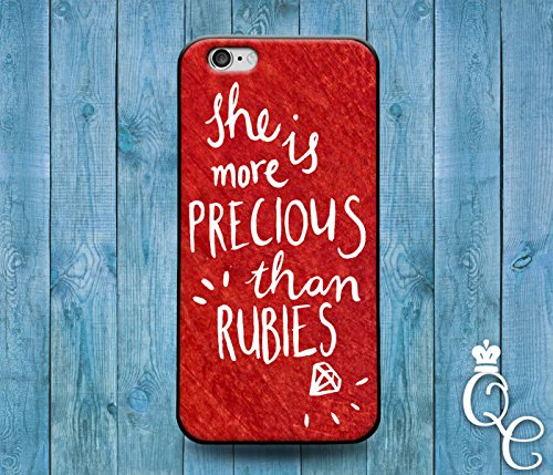 *BoutiqueHouse* iPhone 4 4s 5 5s 5c SE 6 6s plus + iPod Touch 4th 5th 6th Gen Cover She is More Precious Than Rubies Proverbs Jewel Cute Quote Phone Case(Samsung Galaxy Note 5) (Ipod 5 Case Jewels)