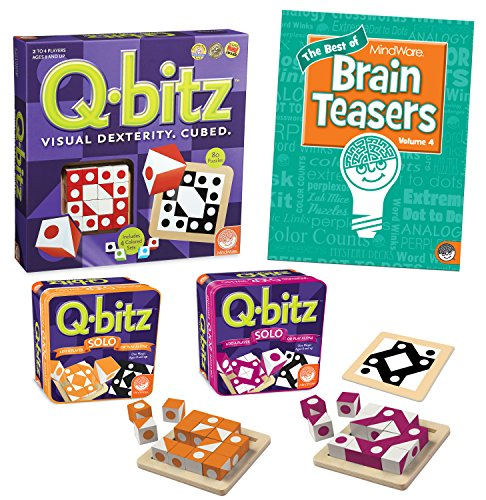 MindWare's Q-bitz Collection: Set of 3 with BONUS Brainteaser Book]()