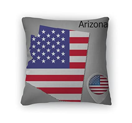 Amazon.com: Gear New Throw Pillow Accent Decor, Arizona State Map ...