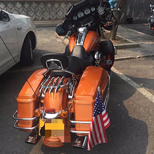 Sissy Bar Luggage Rack - BBUT Chrome Passenger Backrest Sissy Bar With Stealth Luggage Rack And 4 Point Docking Hardware Kits For Harley Davidson Touring 2014 2015 2016 2017 2018 2019