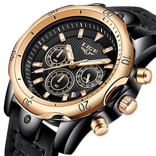 Mens Watches,LIGE Mens Chronograph Big Face Military Sports Analog Quartz Watch Gents Waterproof Date Calendar Business Casual Wrist Watch Clock with Leather Strap Black Dial Rose Gold Black