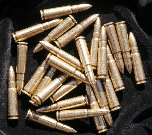 25 Replica Bullets - AK 47 Assault Rifle Denix Gun Dummy Ammo Cartridge Rounds - Fits in 38/357 Caliber Bullet loops