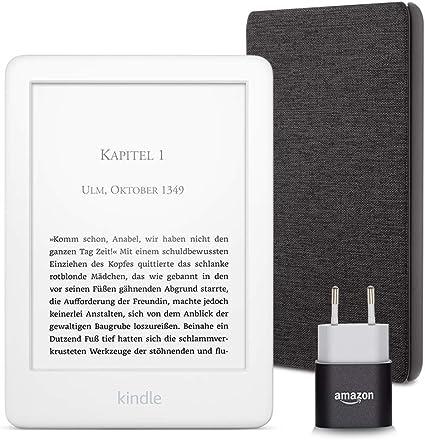 Kindle Essentials Bundle Mit Einem Kindle Weiß Ohne Spezialangebote Einer Amazon Hülle Aus Stoff Kohlenschwarz Und Einem Amazon Powerfast 5 W Ladegerät Amazon Devices