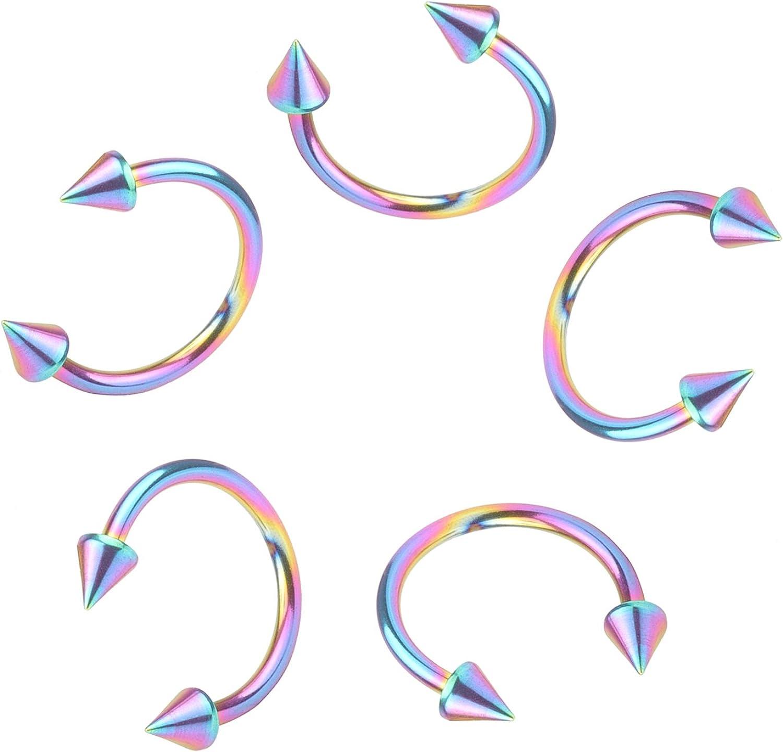 Great my shop 16G Stainless Steel Nose Septum Horseshoe Hoop Earring Eyebrow Tragus Lip Piercing Ring 6mm