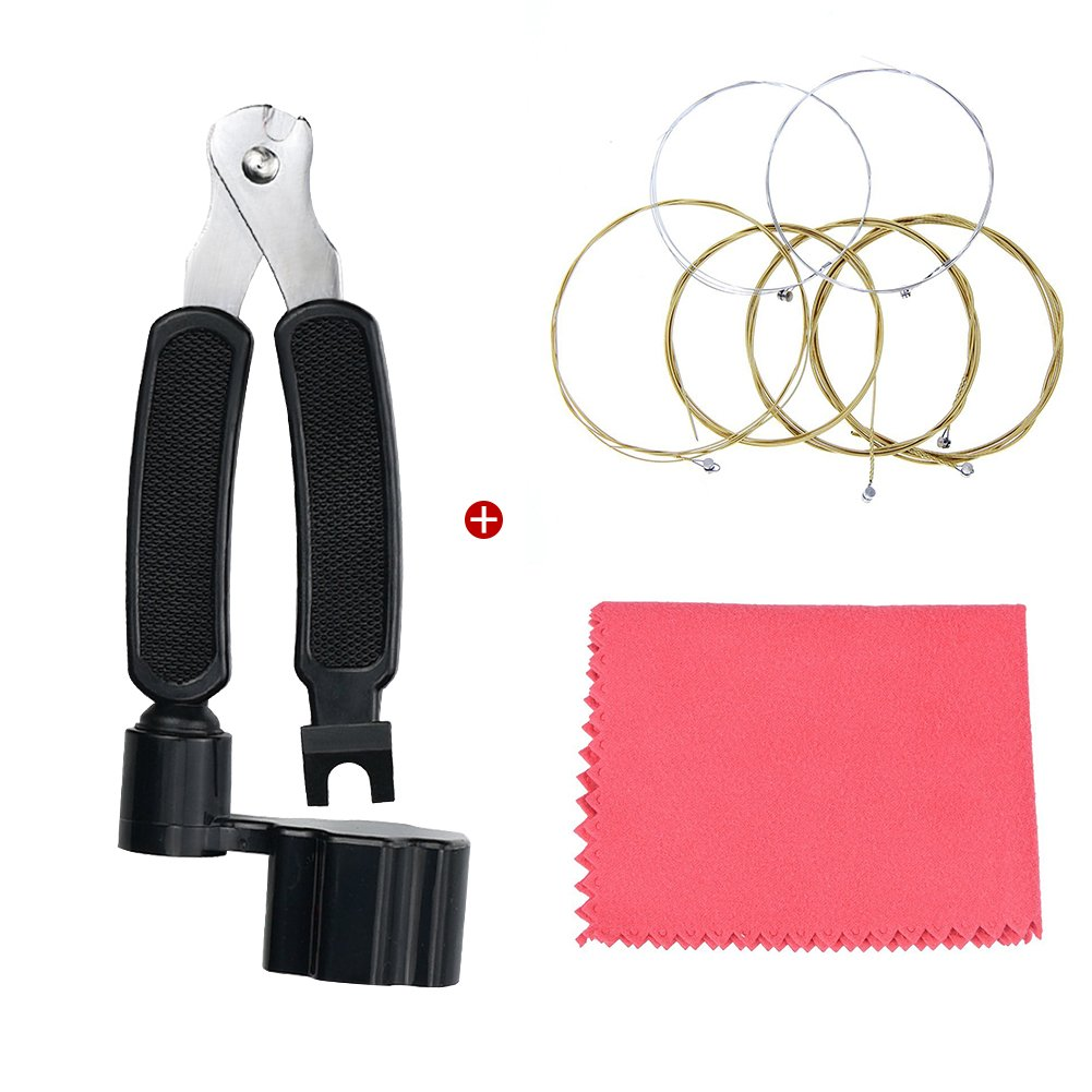 Guitar Tool Set String Winder Cutter Pin Puller 3 in 1 with Guitar Strings Steel for Acoustic Guitar Multifuctional Replacement Guitar Tool Meideal