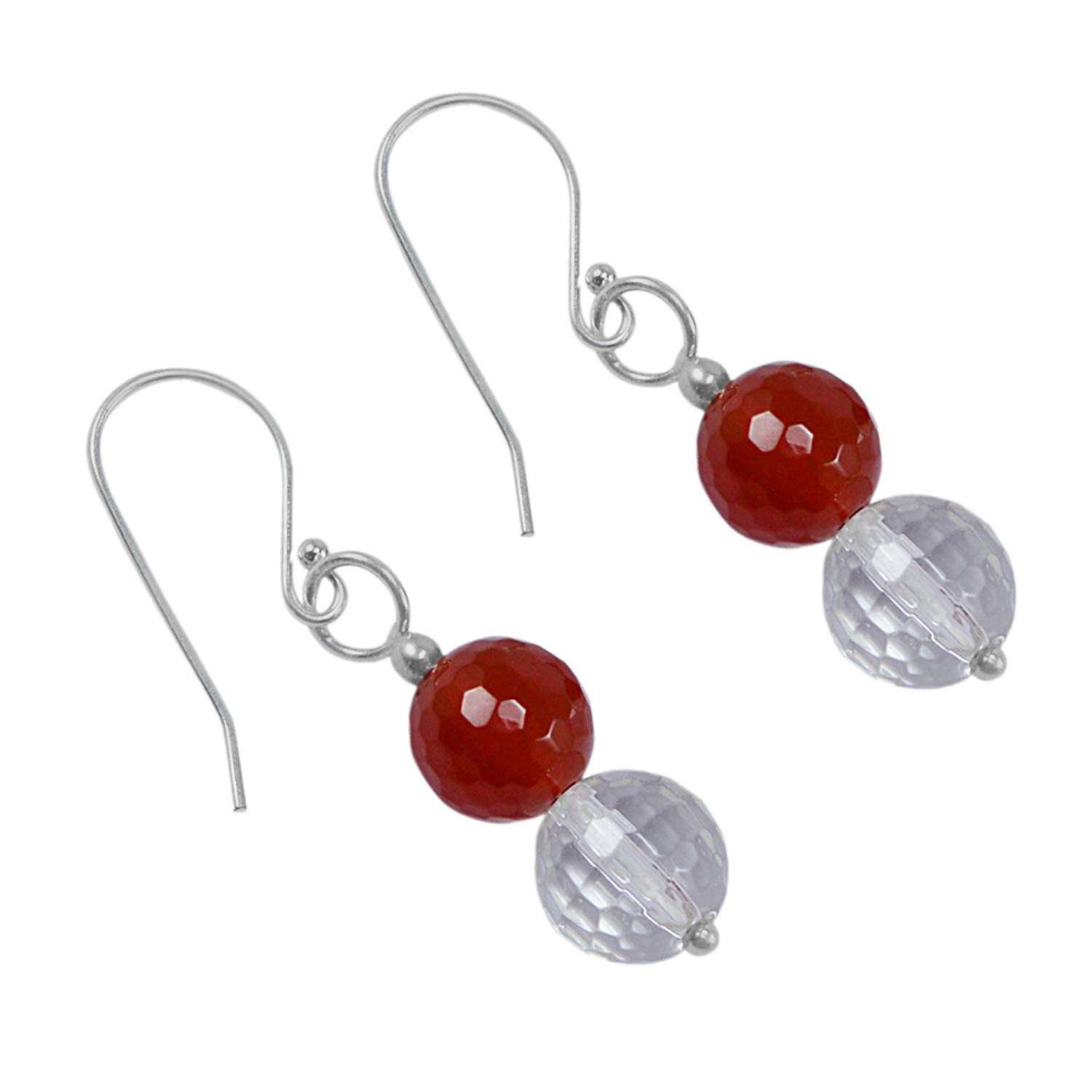 Saamarth Impex Red /& Crystal Quartz 925 Sterling Silver Dangle Earring PG-129935