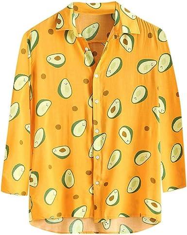 Camisa Hawaiana Hombre, Moda Casual Manga Larga Blusa Cómodo y Suelto Camisa Estampada Aguacate Hombre Slim fit Camisa Manga Larga Cárdigans: Amazon.es: Ropa y accesorios