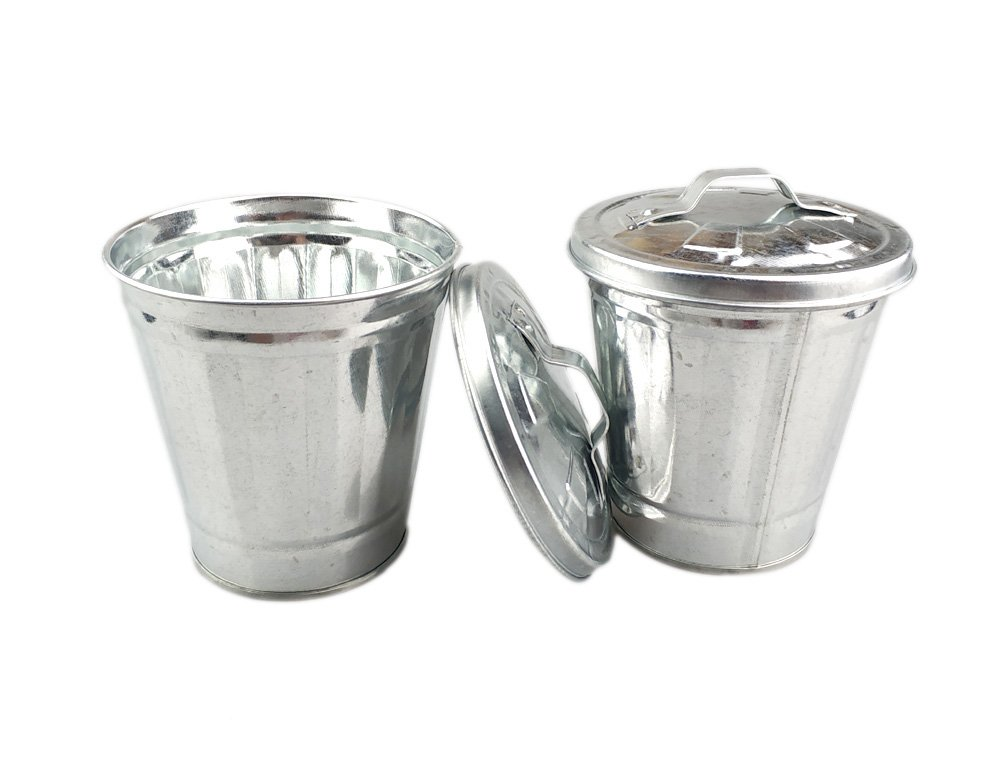 AITING Mini Trash can & Iron Garbage can Pencil Cup Holder 2pcs