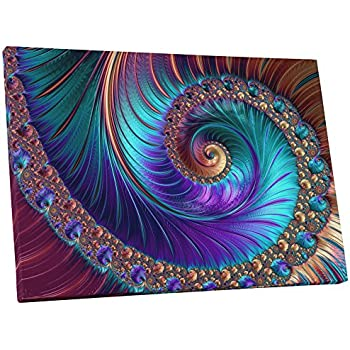 Pingo World 0719QSRRU4Y Peacock-esque Spiral Abstract Gallery Wrapped Canvas Wall Art (30