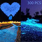 Glow in the Dark Garden Pebbles Stone for Walkway Yard and Decor in Blue DIY Decorative Luminous Cobblestones Pebbles Stones for Aquarium Fish Tank Gravel Stones(300Pcs)