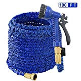 EXSPORT 100 Feet Garden Hose with 3/4 Solid Brass Connector Lightweight & Flexible - 7 Pattern Function Watering Nozzle Gardening Spray, Garden Hose Storage Bag Included
