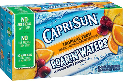 Capri Sun Roarin'Waters Flavored Water Beverage, Tropical Fruit, 10-Count, 6-Ounce Pouches (Pack of 4)