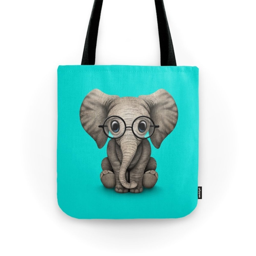 Society6 Cute Baby Elephant Calf With Reading Glasses On Blue Tote Bag 13'' x 13''