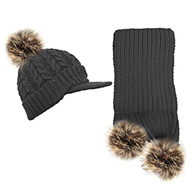 Women Girls Knitted Detachable Faux Fur Pom Pom Hat and Scarf Set