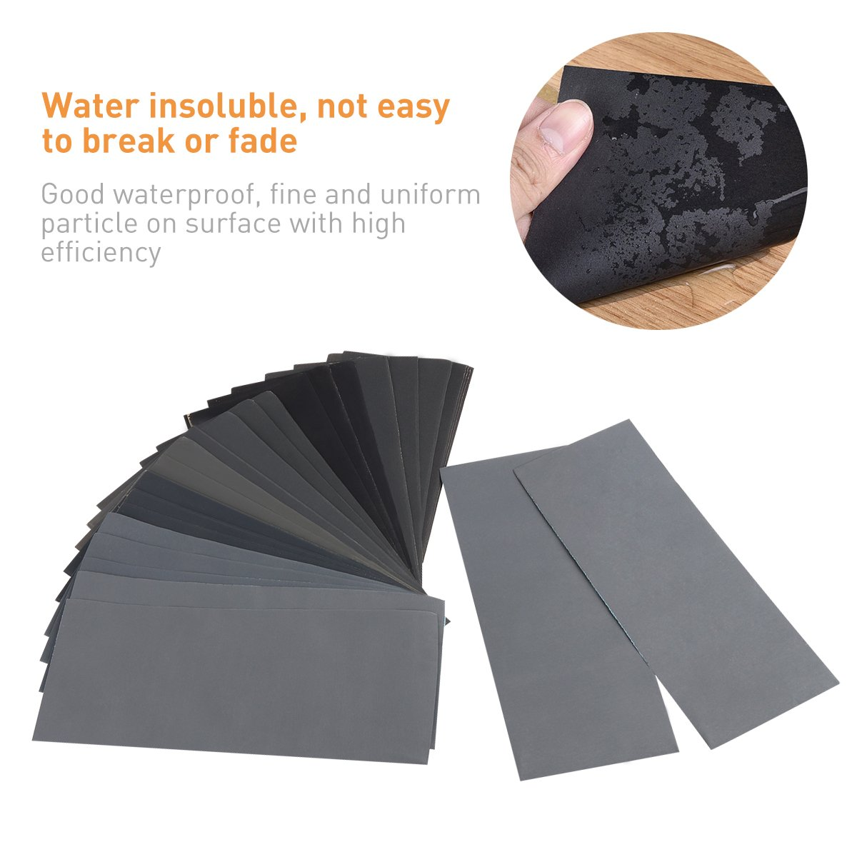UEETEK Surtido de papel de lija de grano 400 a 3000 36pcs seco / mojado para el acabado de muebles de madera lijado automotriz