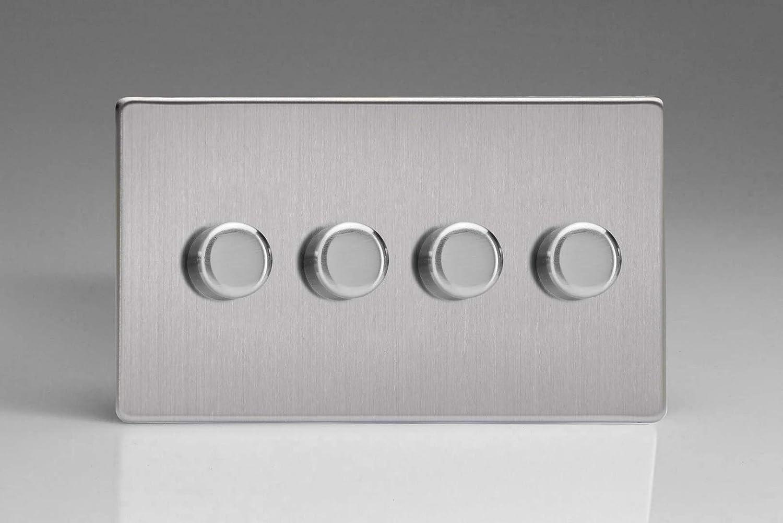 LED de regulador /Regulador V de Pro Serie 1/o 2/V/ías Varilight/ acero pulido doble 250/W sin tornillos corte de fase 4/velocidades