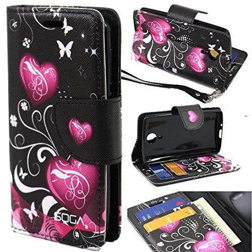 SOGA Cover Phone Model Compatible ZTE Ultra N817 Case, SOGA [Pocketbook Series] PU Leather Magnetic Flip Design Wallet Case for ZTE Ultra (N817) - Black Butterfly Heart