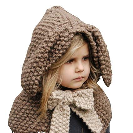 BESTOYARD Sombreros de lana Oreja de conejo lindo Gorro hecho a mano Gorro  tejido de ganchillo 75deda676ca