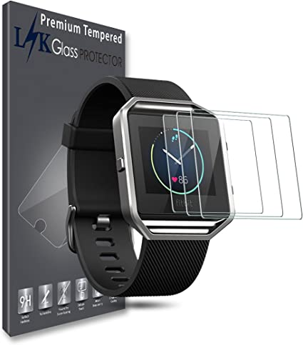 LK [3 Pack] Screen Protector for Fitbit Blaze SmartWatch Tempered Glass [Anti-Fingerprint] HD Clear 9H Hardness Bubble Free