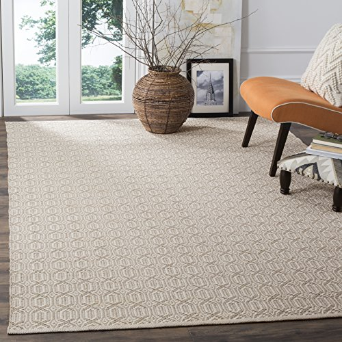 Safavieh Montauk Collection MTK333A Handmade Flatweave Ivory and Grey Cotton Area Rug 5 x 8