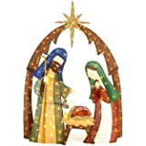 Home Accents Holiday TY731-161476 in. LED Lighted Burlap Nativity Scene