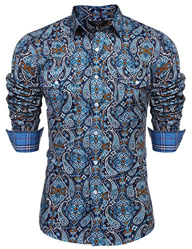 COOFANDY Mens Floral Dress Shirt Slim Fit Casual Paisley Printed Shirt Long Sleeve Button Down Shirts,Blue,X-Large