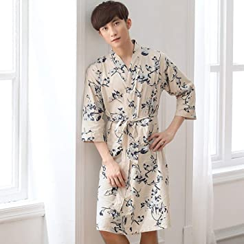 XQY Comfortable Home Pajamas Bathrobe Shop Cotton with Pockets Cotton  Summer Summer Men Nightgown Thin Section Long Section hot Short Sleeve  Pajamas Men S ... d1d3af51c