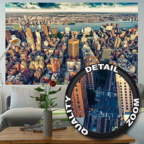 GREAT ART Wallpaper New York City Skyline – Wall Decoration Sundown Manhattan America USA Image Big Apple NY Poster NYC Mural (82.7 x 55 ()