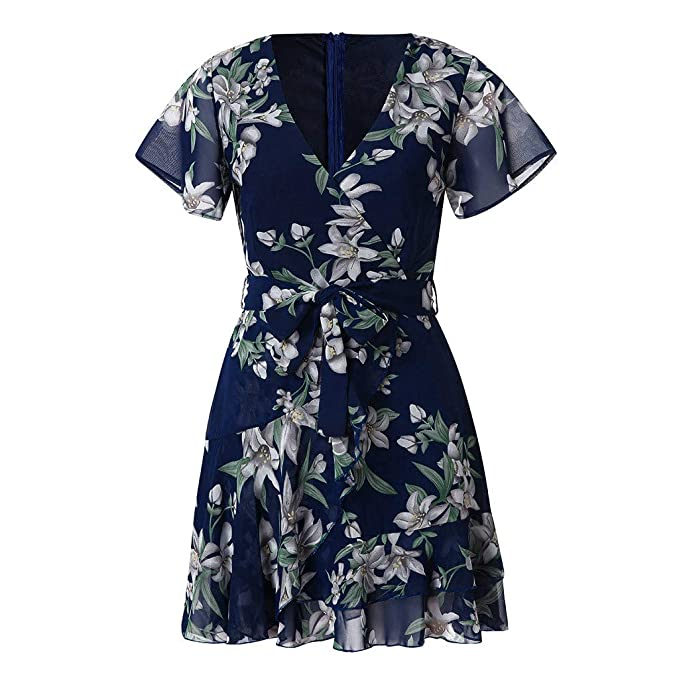 d0356f2bfe945 FNKDOR Womens Holiday Summer Dress Casual Short Sleeve Floral Print Chiffon  Party Mini Dress Sundress  Amazon.co.uk  Clothing