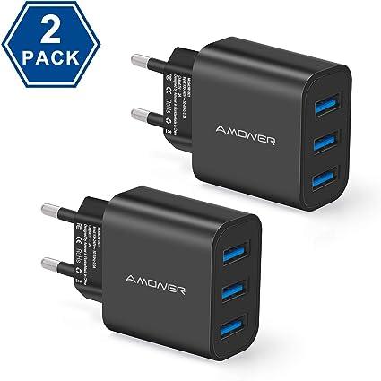 Amoner Caricatore USB da Muro con 3 Porte Caricatore da 3A