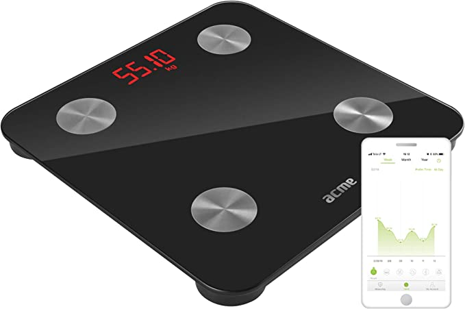 Metabolismo Basale Massa Grassa acme SC101W Bilancia Pesapersone Digitale I Bilancia Impedenziometrica I Bilancia Bluetooth