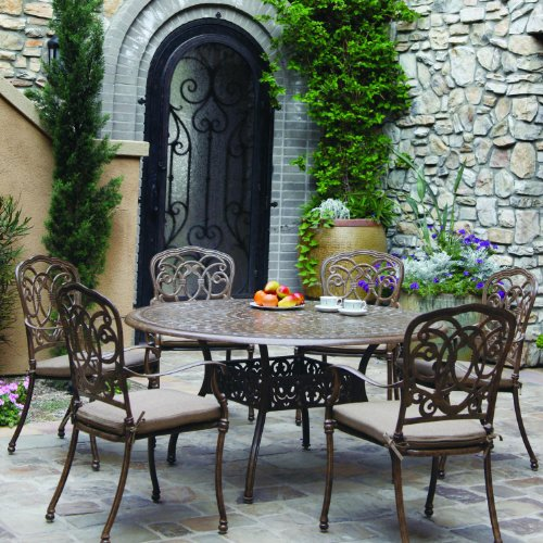 Darlee Florence 7 Piece Cast Aluminum Patio Dining Set Oval Table - Antique Bronze -