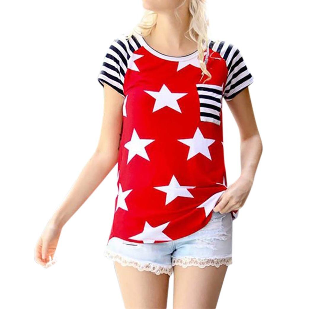 Peizeレディース夏アメリカ国旗ストライプ花柄ポケット半袖Tシャツゆったりカジュアルブラウス B07CPQD5TZ XL|RD RD XL