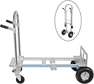 Hihone 770 Lbs Aluminum Hand Truck, 2 in 1 Heavy Duty Convertible Folding Hand Truck, with 10