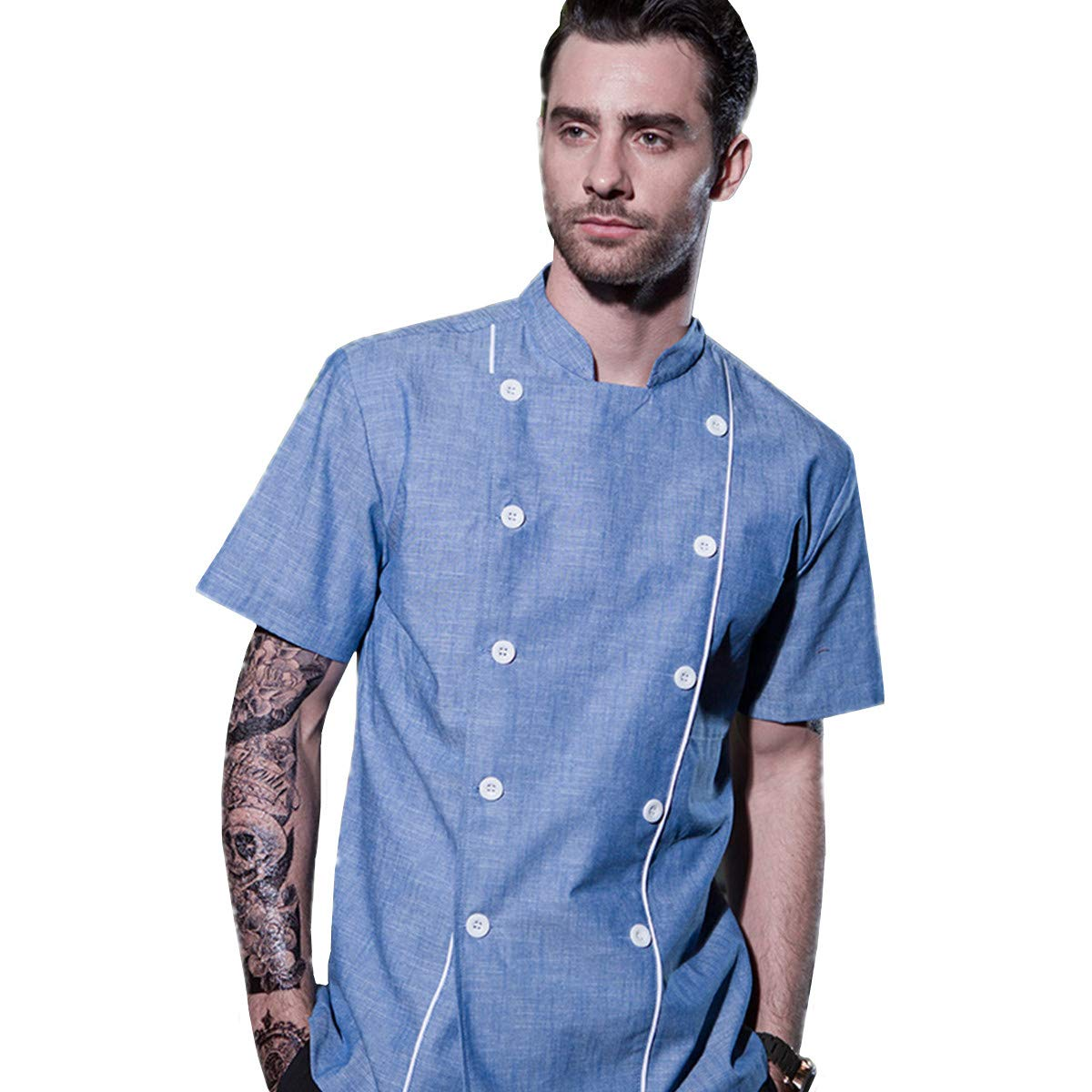 XINFU Chef-Coat Double-Breasted Short-Sleeved for Men's and Women's Summer Chef Jacket