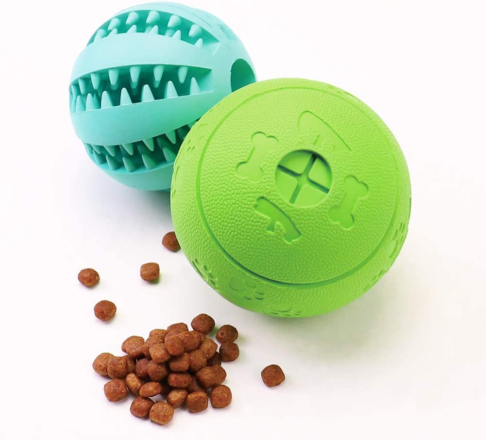 HIPPIH Dog Puzzle Toy 2 Pack, Interactive Dog Toys Ball for IQ Training, Durable and Non-Toxic Treat Dispensing Puppy Toy for Teeth Cleaning/Playing