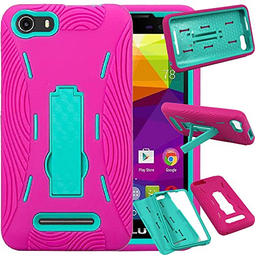BLU Advance 5.0 Case, SOGA [Ribbed Protection Series] Armor Kickstand Case Hybrid Hard Heavy Duty Skin Phone Cover for BLU Advance 5.0 (D030UX) - Teal/Hot Pink ()