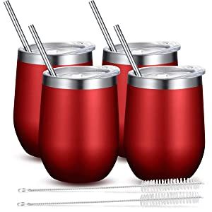 Fungun 4 Pack Stemless Wine Tumbler, 12 Oz Stainless Steel Wine Glass, Unbreakable Double Wall Cup Insulated Tumbler with Lids for Wine, Coffee, Drinks, Cocktails, Champagne(Wine Red)