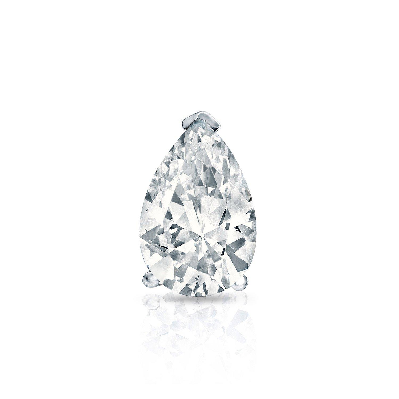 14k White Gold Pear Diamond SIMULANT CZ Men SINGLE STUD Earrings V-Prong (1/2ct,Excellent Quality)