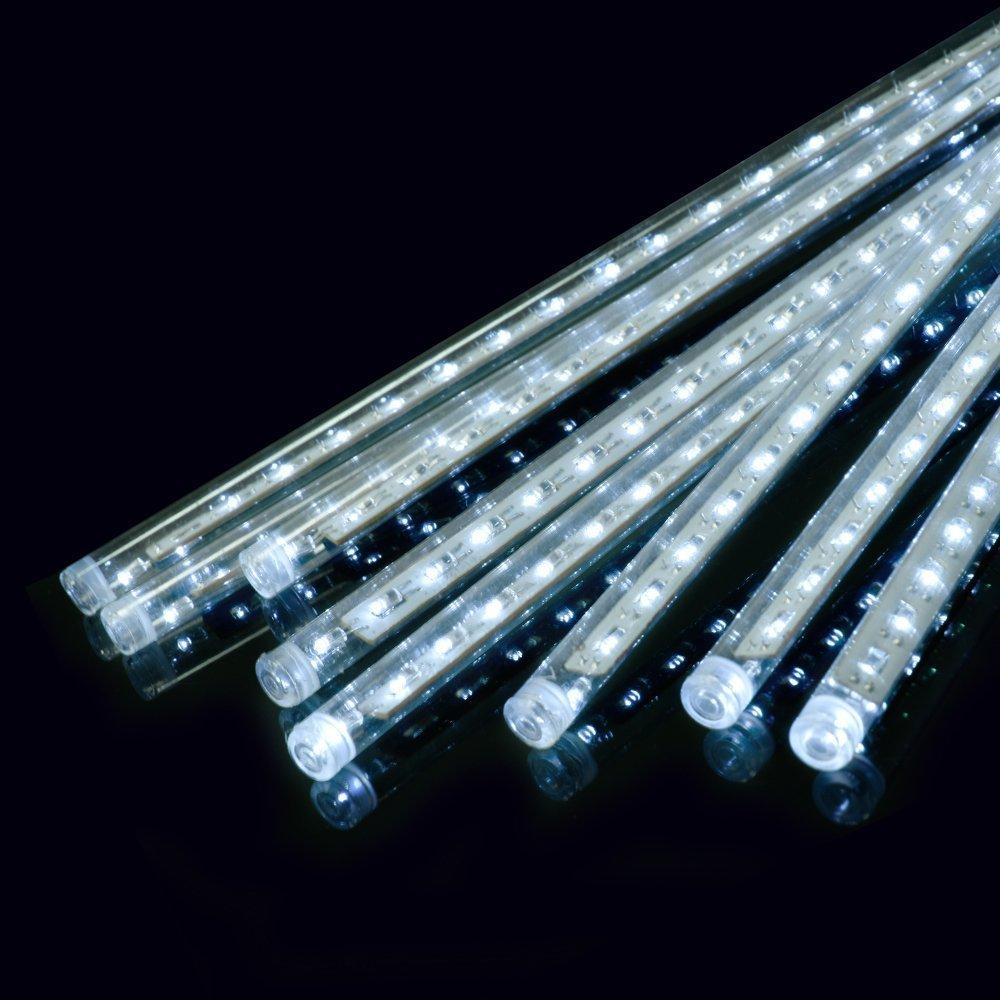Ecloud Shop 50cm LED Lumière Météor Douche Pluie Lumières de Pluie pour Noël Mariage Arbre Partie Mall Décoration Un Set 8 Tube (Blanc)