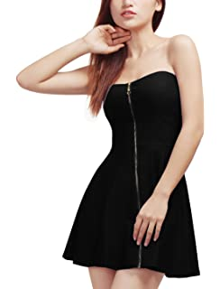36f52ff1f7b Allegra K Women s Strapless Exposed Zipper Front Mini Party A-Line Dress